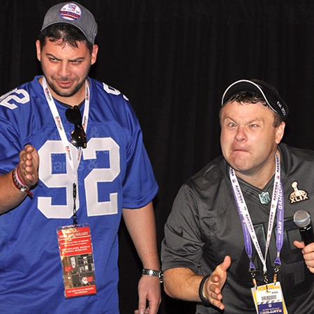Frank Caliendo & a fan at the 2015 Super Bowl Tailgate