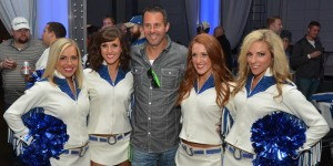 The Colts cheerleaders take pictures with fans and sign autographs during the VIP Tailgate.