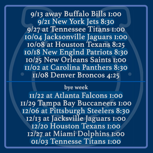 Colts 2015 Schedule